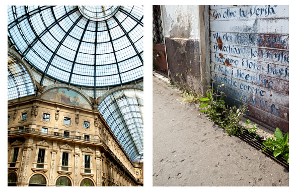 Left: Montenapoleone, Milan  Right: Disused restaurant