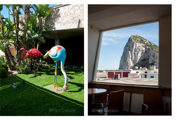 Left: Bahia Sur shopping mall Right: Gibraltar Airport, with a view of the Rock