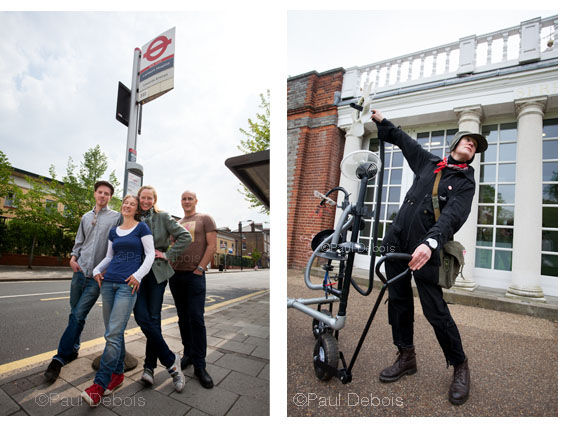 Left: The Edible Bus Stop team. Right: Julia Barton, artist, maker of the Heavy Plant Crossing or mechanical plant, outside The Serpentine Gallery