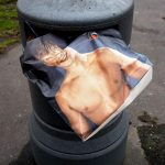Carrier bag in rubbish bin