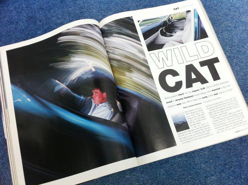Jeremy Clarkson driving a Jaguar XJR