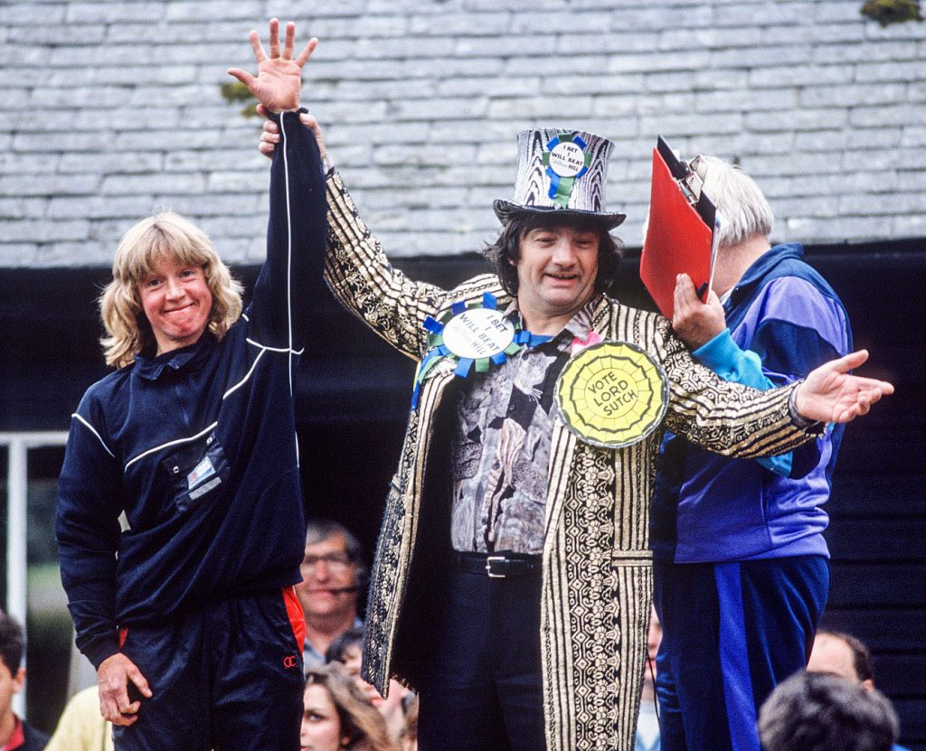 Screaming Lord Sutch at Man v Horse, Llanwrtyd Wells, 1990
