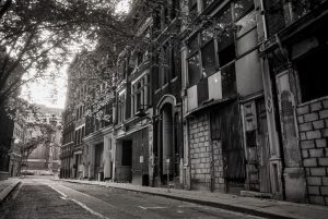 Cross Keys Square, City of London, c1985. Derelict buildings prior to demolition.