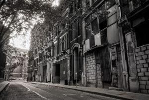 Cross Keys Square, City of London, c1985. Derelict buildings prior to demolition.