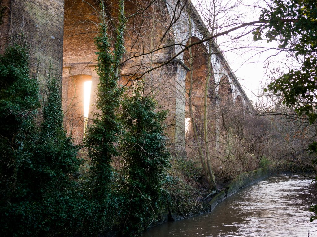 Wharncliffe Viaduct over River Brent in Brent Lodge Park