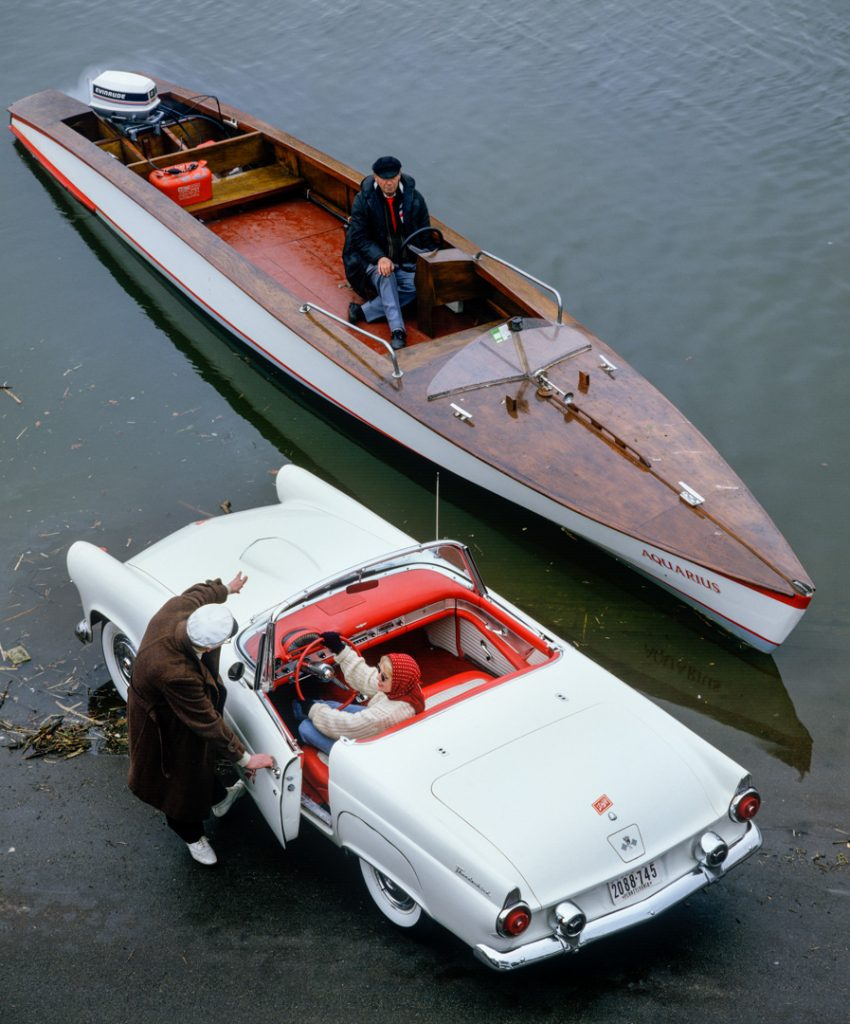 1958 Ford Thunderbird sponsored by Schlitz Beer - on Putney Embankment c1987