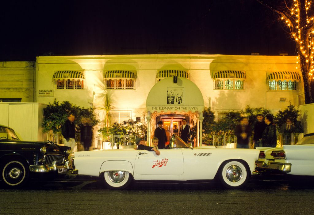 1958 Ford Thunderbird owned by Schlitz Beer - outside The Elephant on the River, c1987