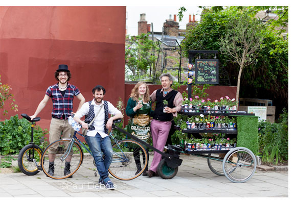 The Bicycle Beer Garden team - taking a break at The Edible Bus Stop.